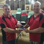 Tuesday 28th April 2015 : Dave Brown presenting tonights winner Mike Galanty with a movie voucher