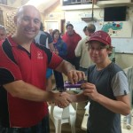 Tuesday 16th June : Club member Mike Galanty presenting tonight's winner Tom Green with a movie voucher