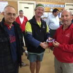 Tuesday 14th July 2015 : Club member Damian Cooper Presenting tonight's winner Jeff Lohrey and last weeks winner Steve Egger with a movie voucher