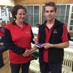 Tuesday 28th July 2015, Club night. Club member Cindy Coward presenting tonights winner Jake Hammond