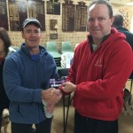 Tuesday 4th August 2015 : Club member Simon O'Sullivan presenting tonights winner Steve Fisher with a movie voucher