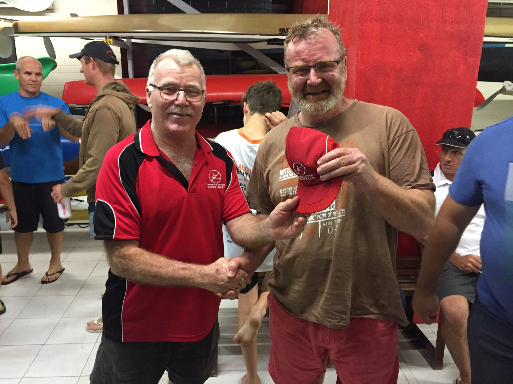 Tuesday 24th November club member David Gardiner presenting Robin with a Canning River Canoe Club cap.