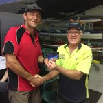 Tues 8th March 2016 : Club member David Gardiner presenting Doug with a movie voucher