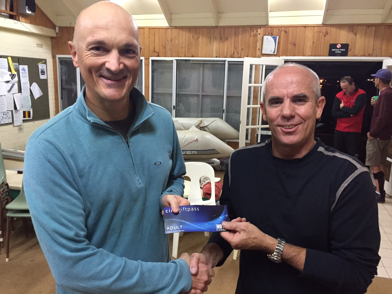 Tues 3rd May 2016 : Tonight's photo shows club member Peter Fergusson presenting tonight's winner Carlo Cottino with a movie voucher