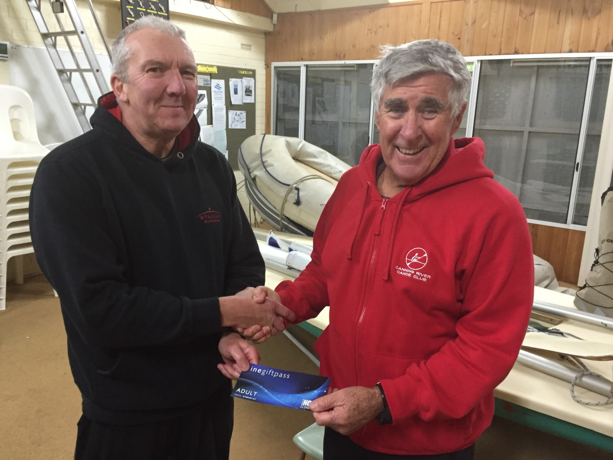 Tues 23rd August 2016 : Malcolm Goodall presents Joe with his movie voucher in tonight's photo.