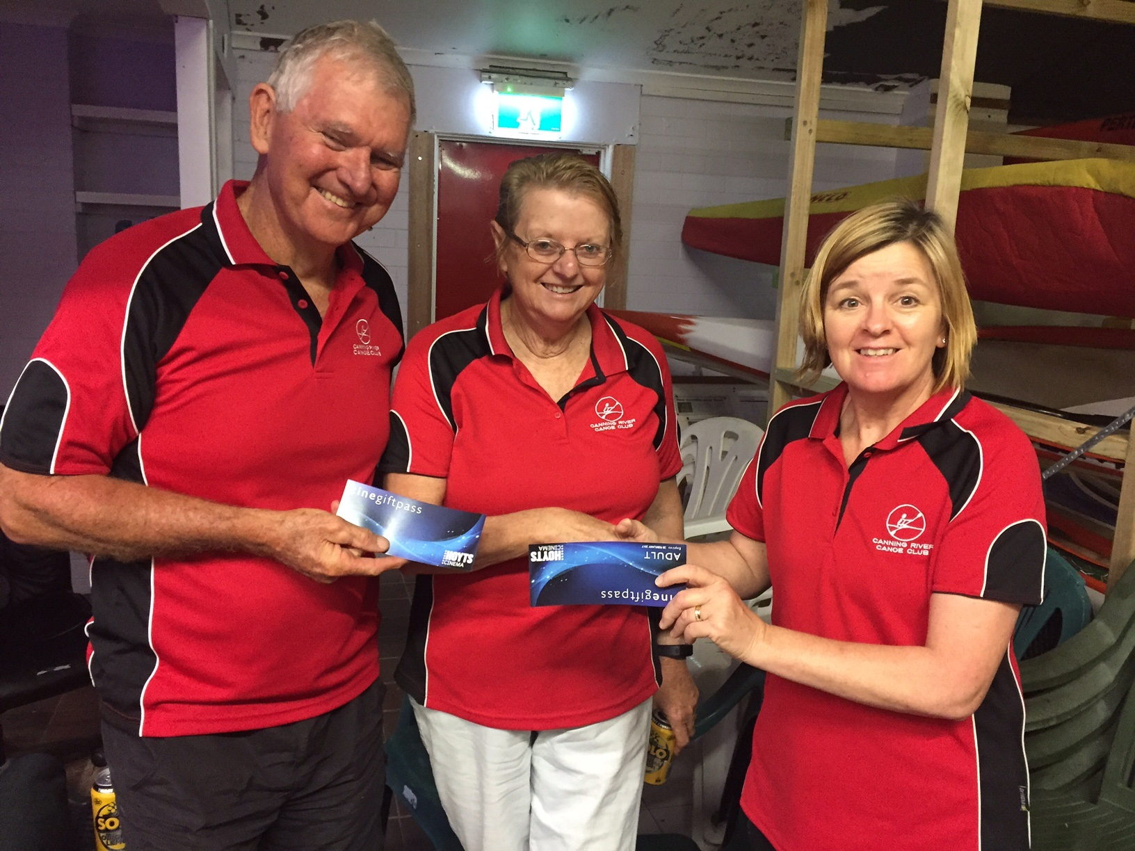Tues 6th Dec 2016 : Judith Thompson presenting Jerry and Marg Alderson with movie vouchers