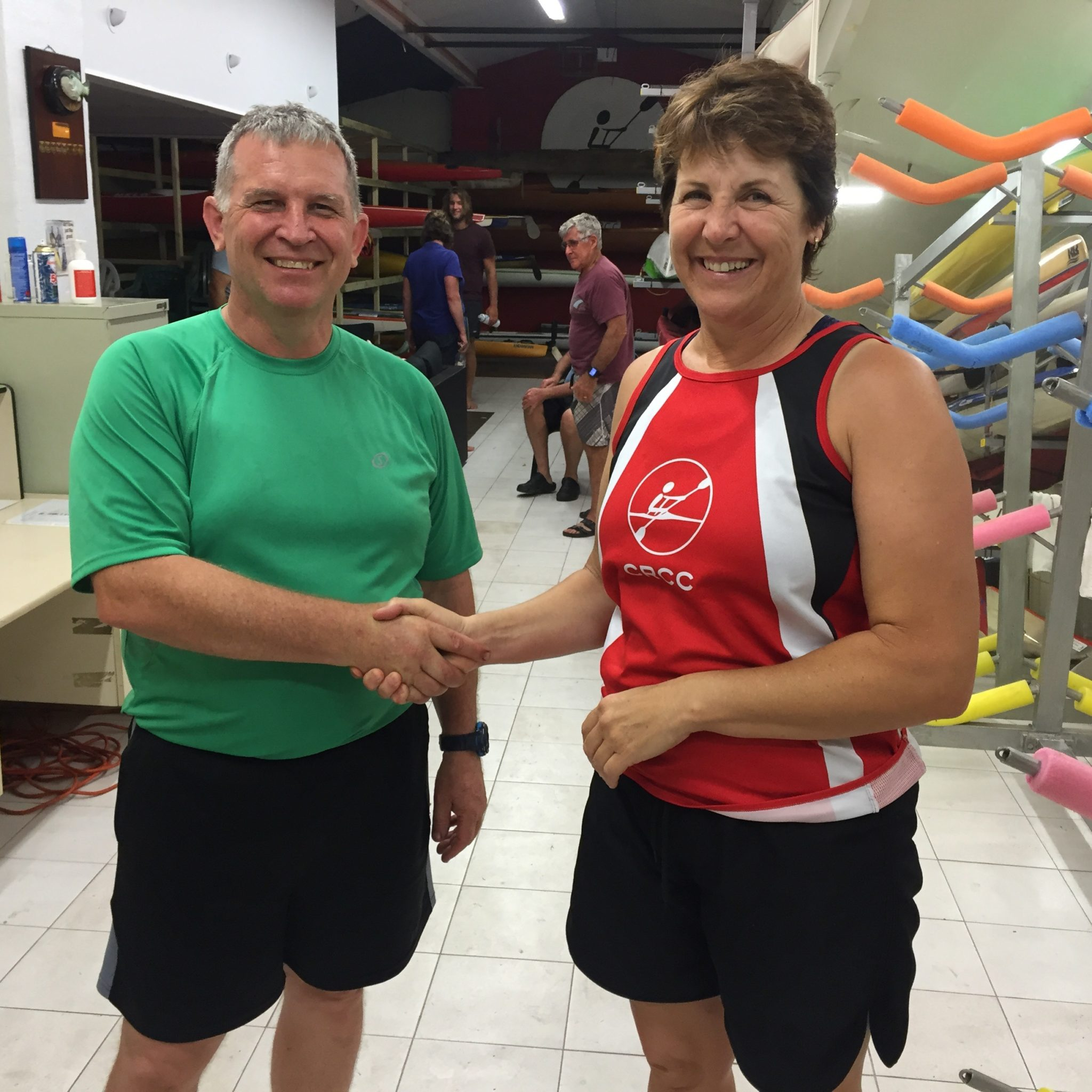 Tues 24th Jan 2017 : Tonights photo shows Club Treasurer Simone Burge presenting David with a movie voucher