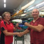 Tues 28th Feb 2017 : Tonight's photo shows club member Marg Alderson presenting Mike with a movie voucher