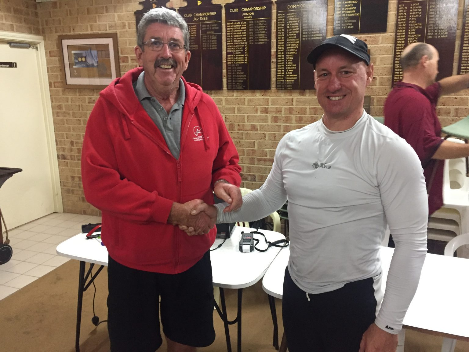 Tues 18th April 2017 : Tonight's photo shows club Committee Member Dave Griffiths presenting Greg Macham with a movie voucher