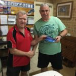 Tues 2nd May 2017 : Club member David Gardiner presenting tonights winner Louis Botes with a movie voucher