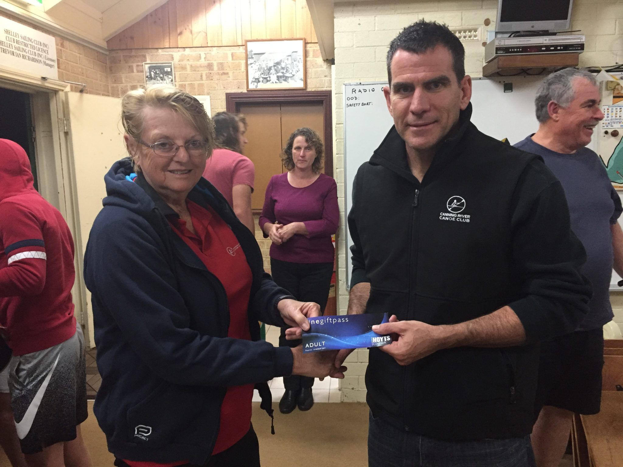 Tues 13th june 2017 : Club member Marg Alderson presenting Stuart Hyde with a movie voucher