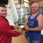 Tues 20th June 2017 : Tonight's photo shows club member Francis Nolan presenting Greg with a movie voucher