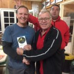 Tues 5th July 2017 : Club member David Gardiner presenting tonights winner Ray Ward with a movie voucher.