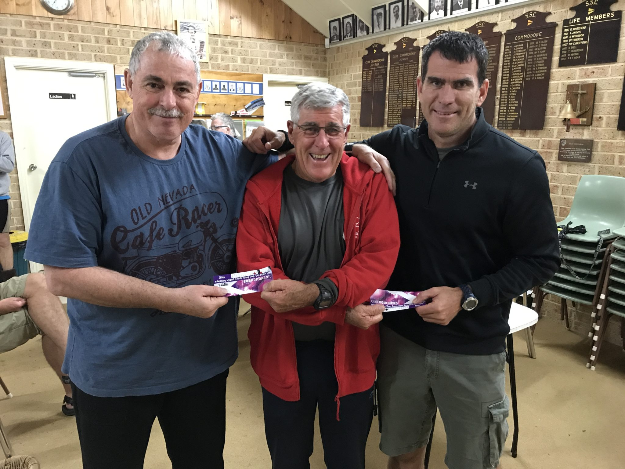 Tues 29th August 2017: Tonights photo shows club member Joe Wilson presenting Louis Botes and Stuart Hyde with winning movie vouchers