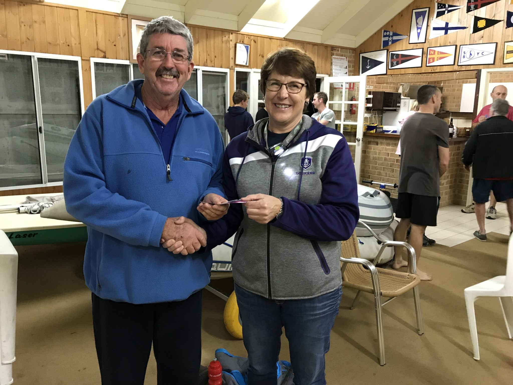 Tues 6th Spetember 2017 : Tonights photo shows club Treasurer Simone Burge presenting Dave Griifithswith a movie voucher.