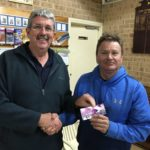 Tues 12th September 2017 : Tonight's photo shows Club Committee Member David Griffiths presenting Francis Nolan with a movie voucher.