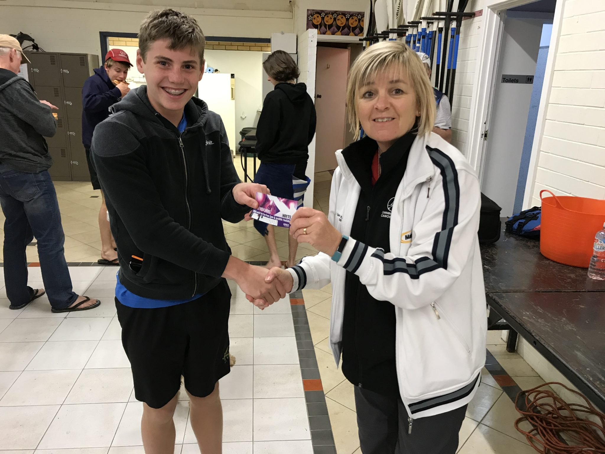 Tuesday 3rd October 2017 :Tonights photo shows Club Secretary Judith Thompson presenting Tim Hyde with a movie voucher