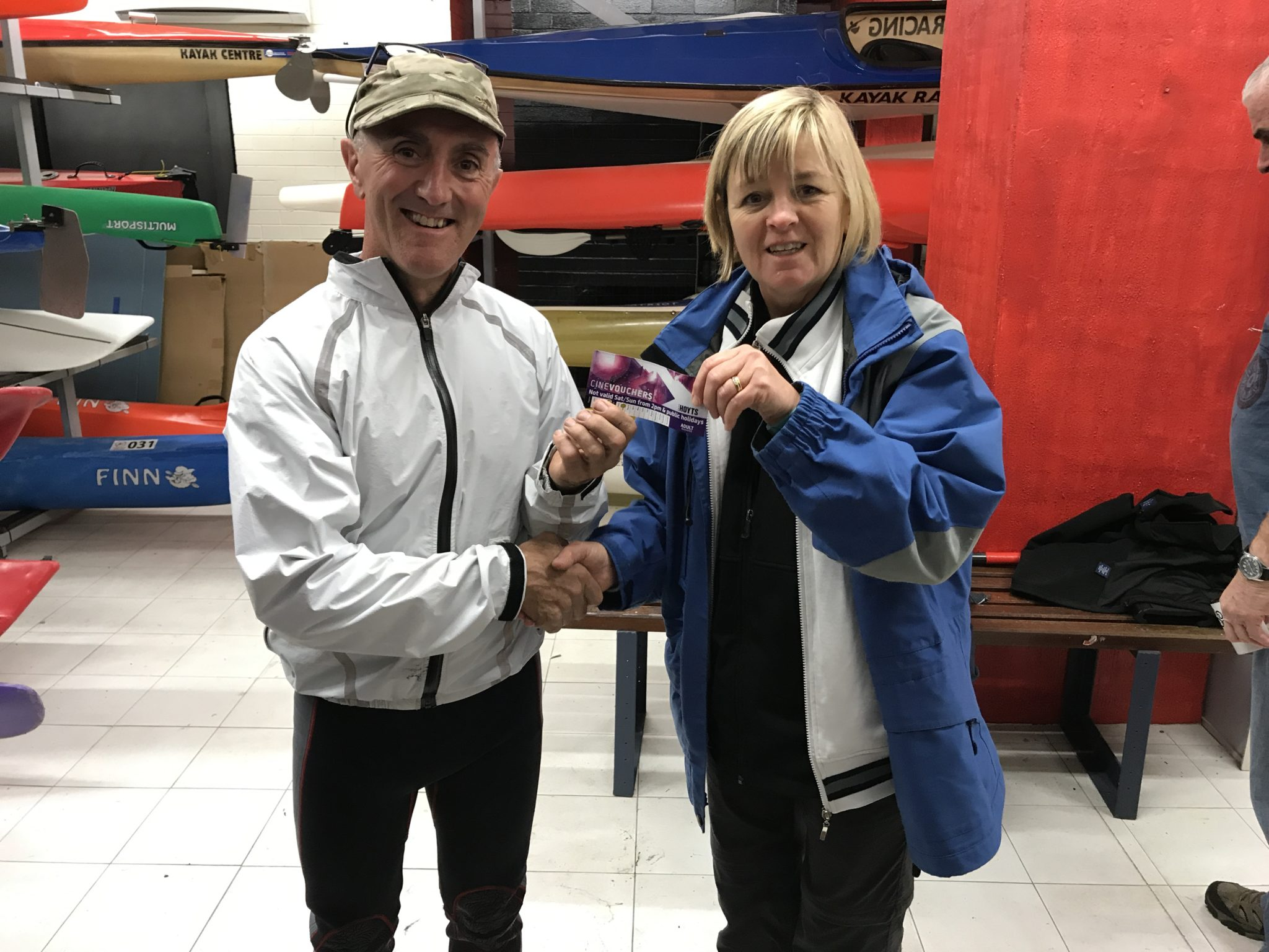 Tues 10th Oct 2017 : Tonight's photo shows Judith Thompson Secretary of CRCC presenting John with his winners movie voucher.