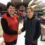Tues 31st October 2017 : Tonights photo shows Club Treasurer Simone Burge presenting Noah with the winners prize