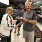 Tues 21st November 2017 : Tonight's photo shows Club Secretary Judith Thompson presenting Gary with a movie voucher.