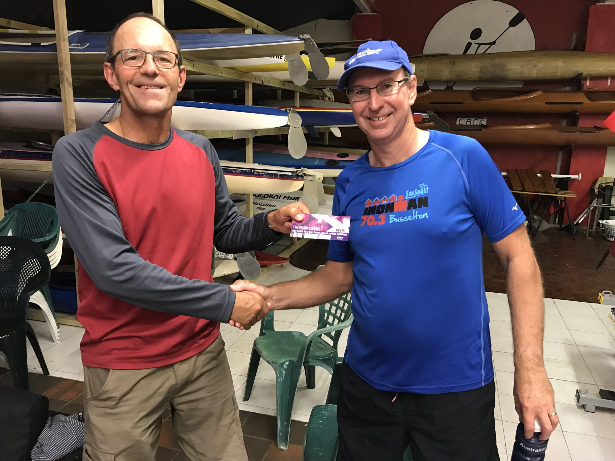 Tues 5th December 2017 : Tonights photo shows Doug Hodson presenting David Urquhart with a movie voucher.