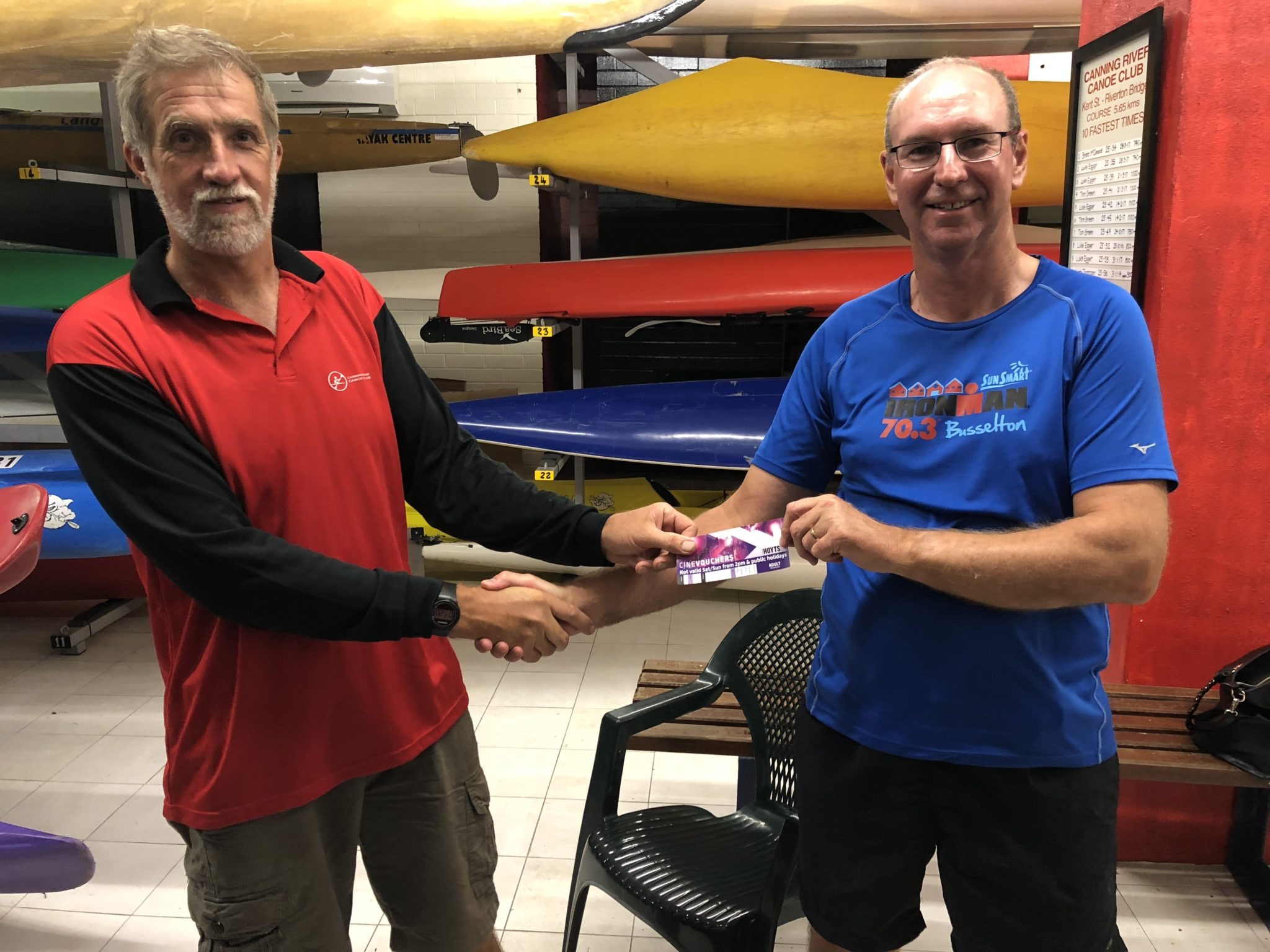 Tues 9th January 2018 : Tonight's photo shows Committee member Steve Coward presenting David Urquhart with a movie voucher