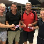 Tues 6th February 2018 : Club member david Griffiths presenting the past three week winners Stuart Hyde, Dave Stevens and Ken Ringrose.