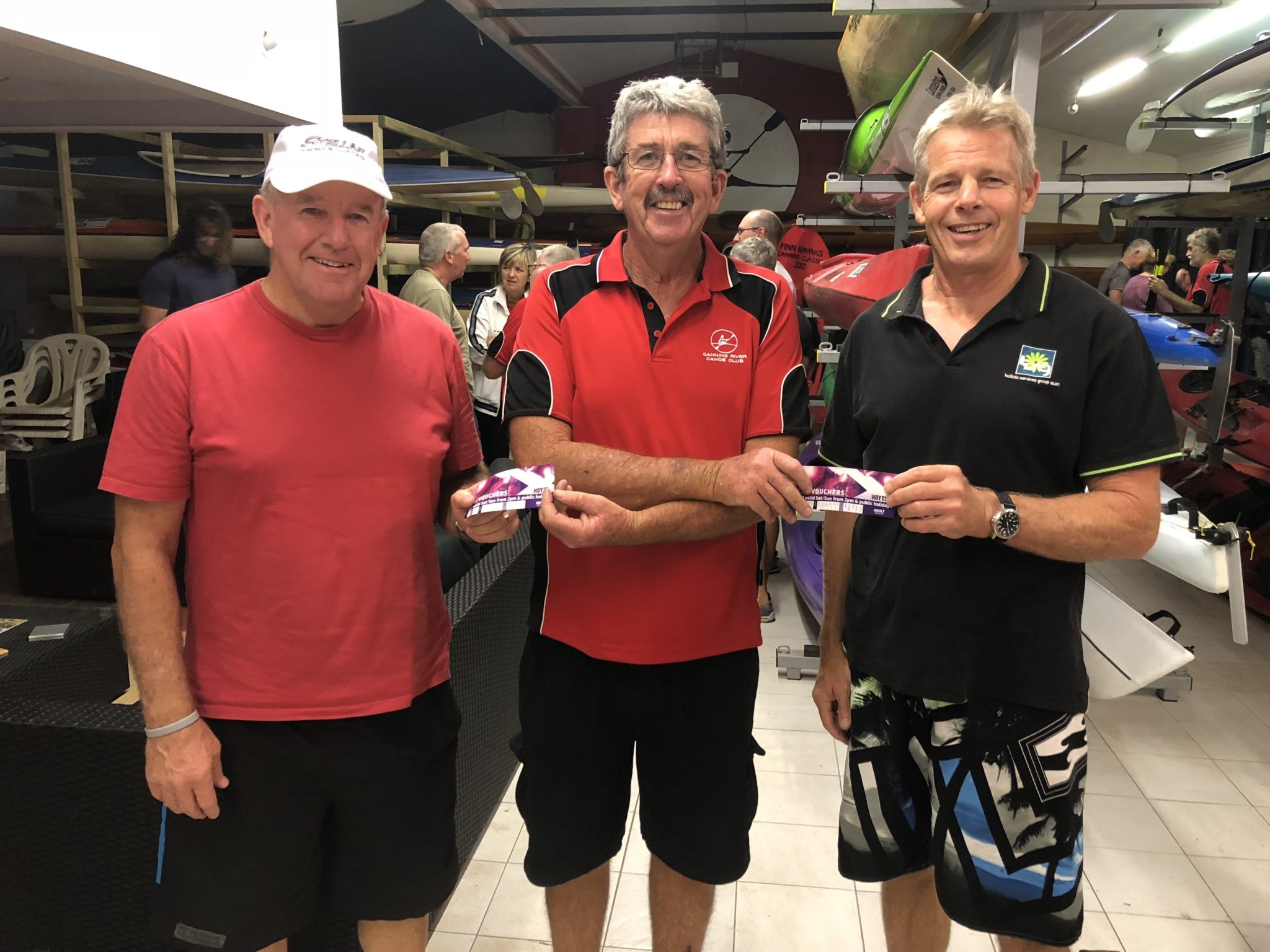 Tuesday 20th February 2018 : Tonight's photo shows Club Committee Member Dave Griffiths presenting tonight's winners Steve Mitchinson and Gary Killian with movie vouchers.