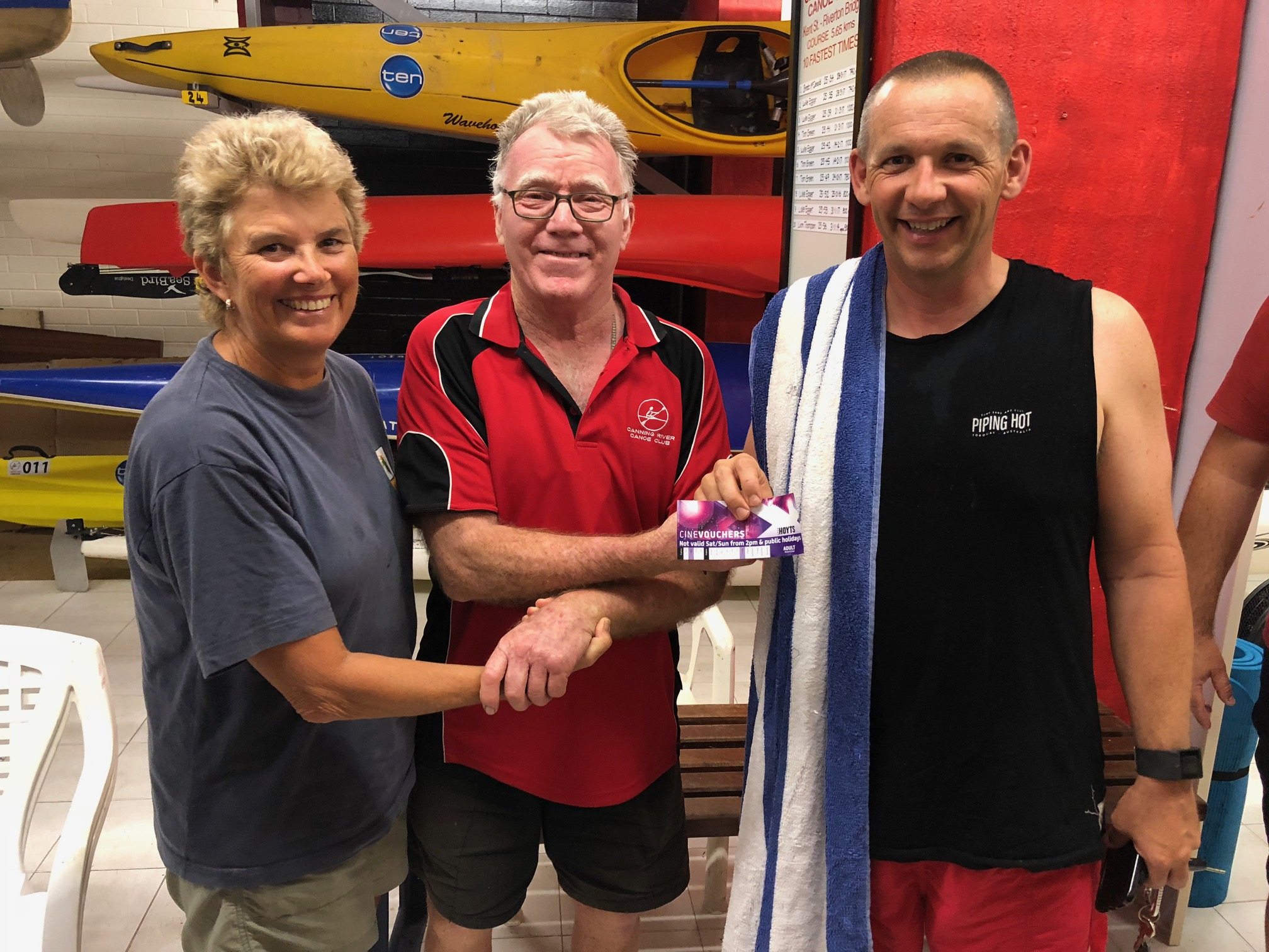 Tuesday 20th March 2018 : Tonights photo shows Club member David Gardiner presenting Julie Plummer and David Boldy with a CRCC club cap and a movie voucher.