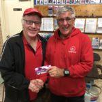 Tues 26th June 2018 : Tonight's photo shows club member Joe Wilson presenting tonight's winner David Gardiner with a movie voucher.