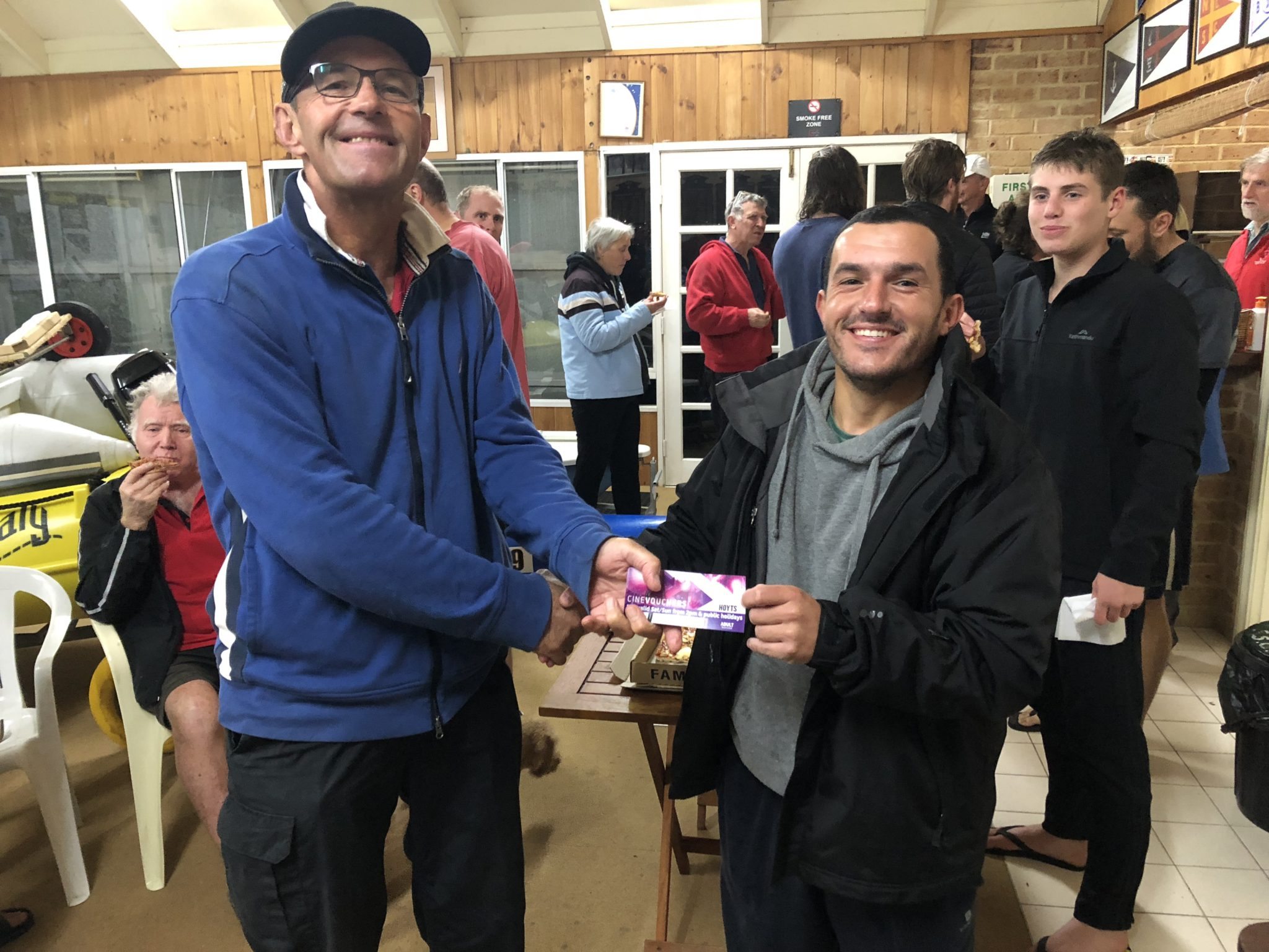 Tues 3rd July 2018 : Tonight's photo shows Doug Hodson presenting Jose Costa with a movie voucher.