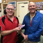Tues 14th August 2018 : Tonight's photo shows Last weeks winner David Gardiner presenting Malcolm with a movie voucher.