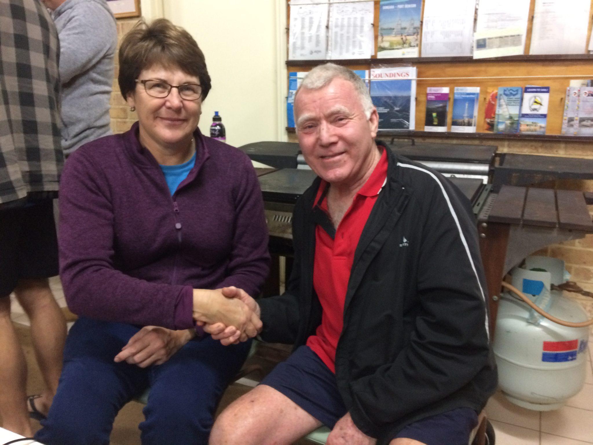 Tuesday 7th August 2018 : Tonight's photo shows Simone Burge congratulating this week's winner David Gardiner