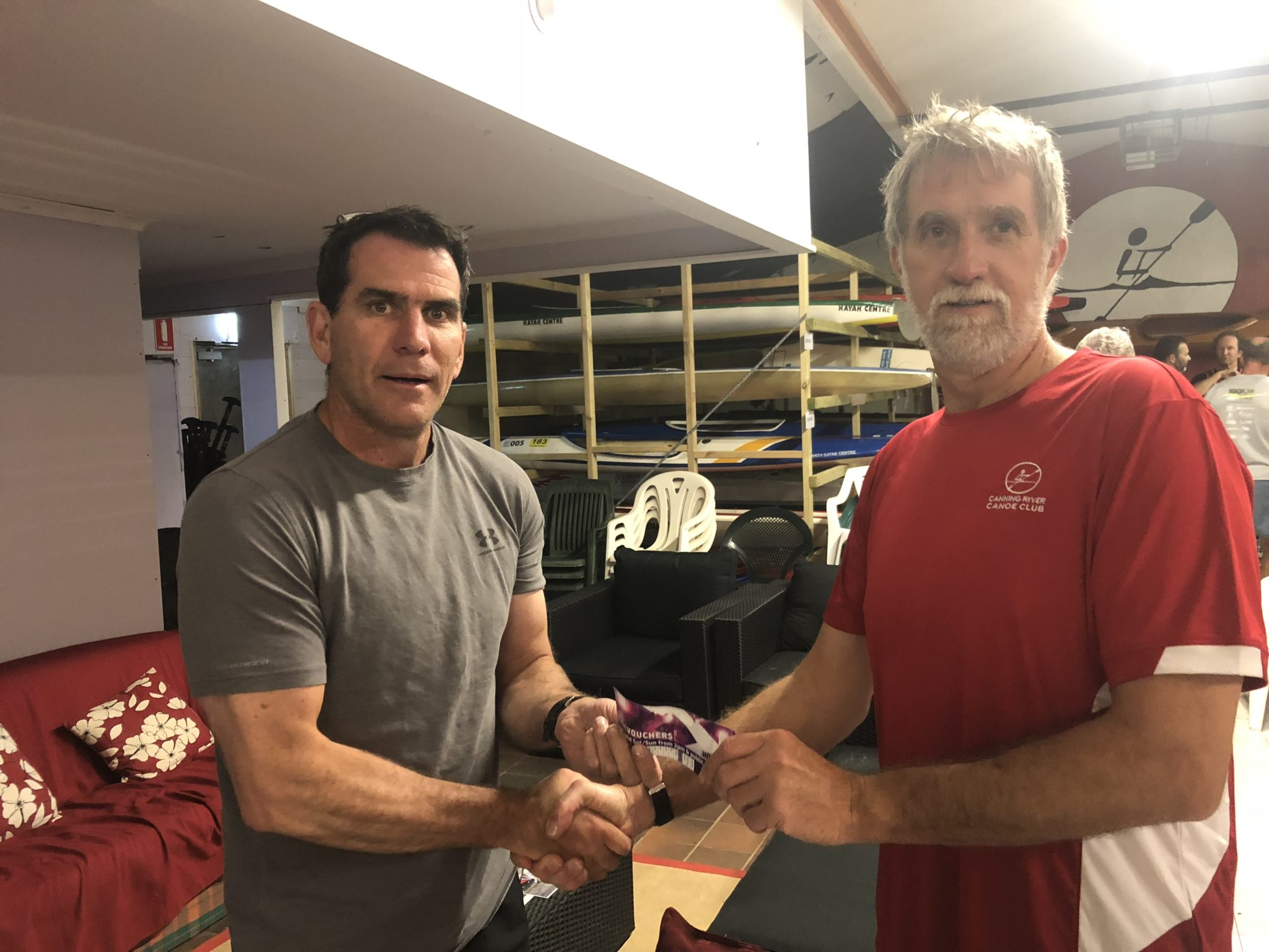 Tues 20th November 2018 : Tonight's photo shows club member Steve Coward presenting Stuart Hyde with a movie voucher.
