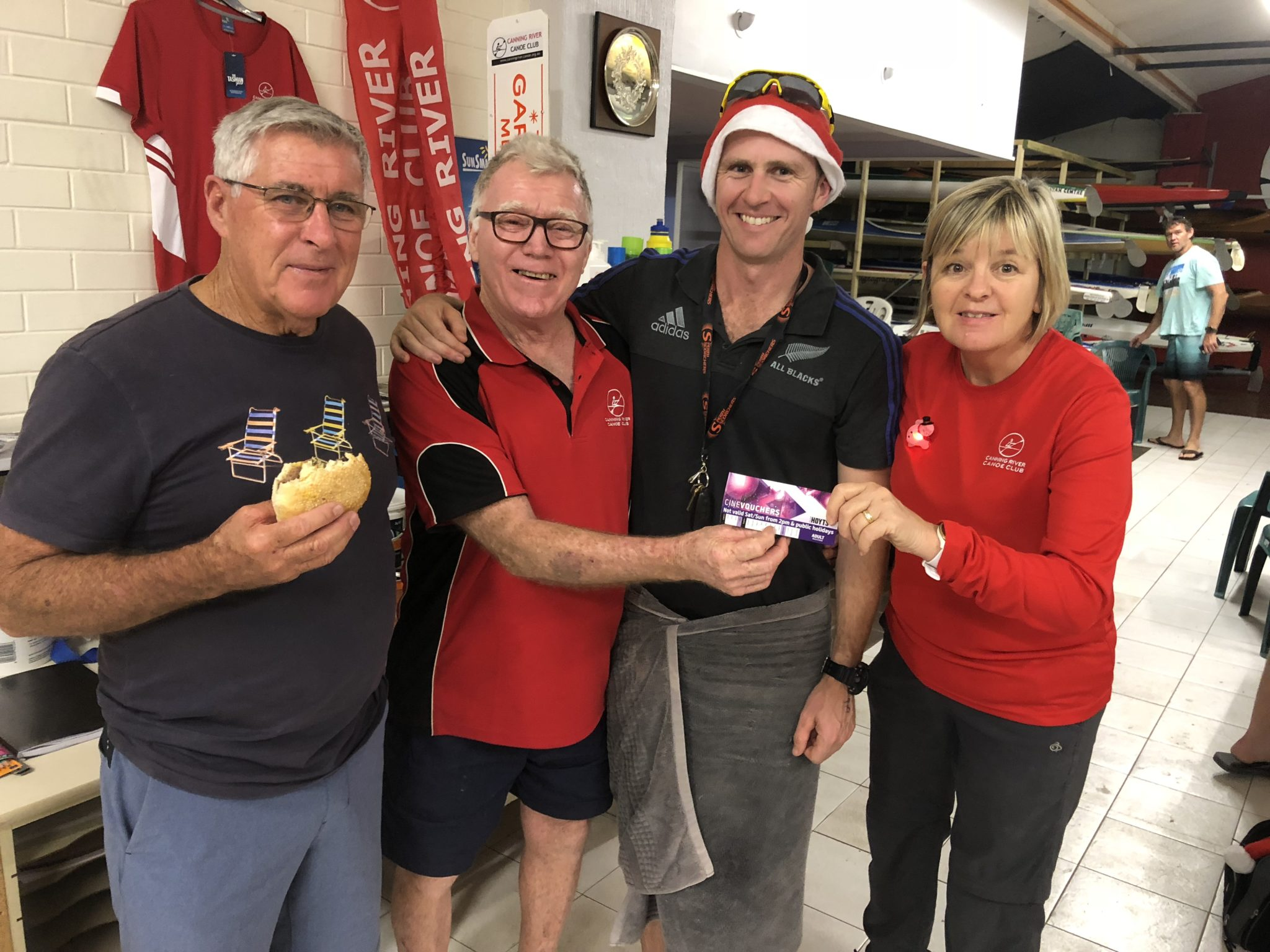 Tues 18th December 2018 : Tonight's photo shows club member Judith Thompson presenting David Gardiner, Joe Wilson and Mike Laloli with a movie voucher.