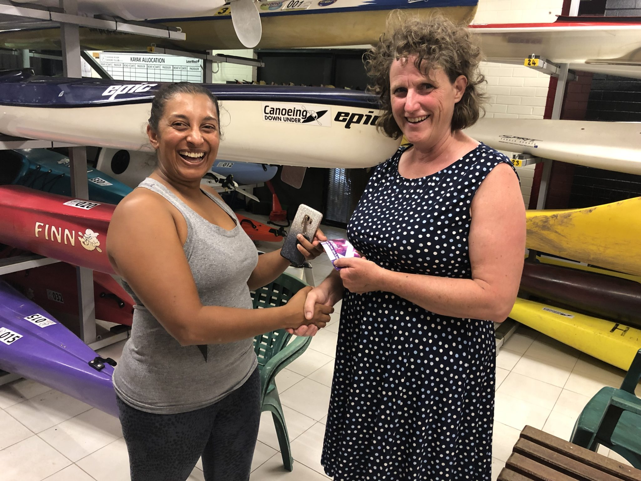 Tuesday 19th February 2019 : Tonight's photo shows club member Nishani Jacob presenting Cindy Coward with the winners movie voucher