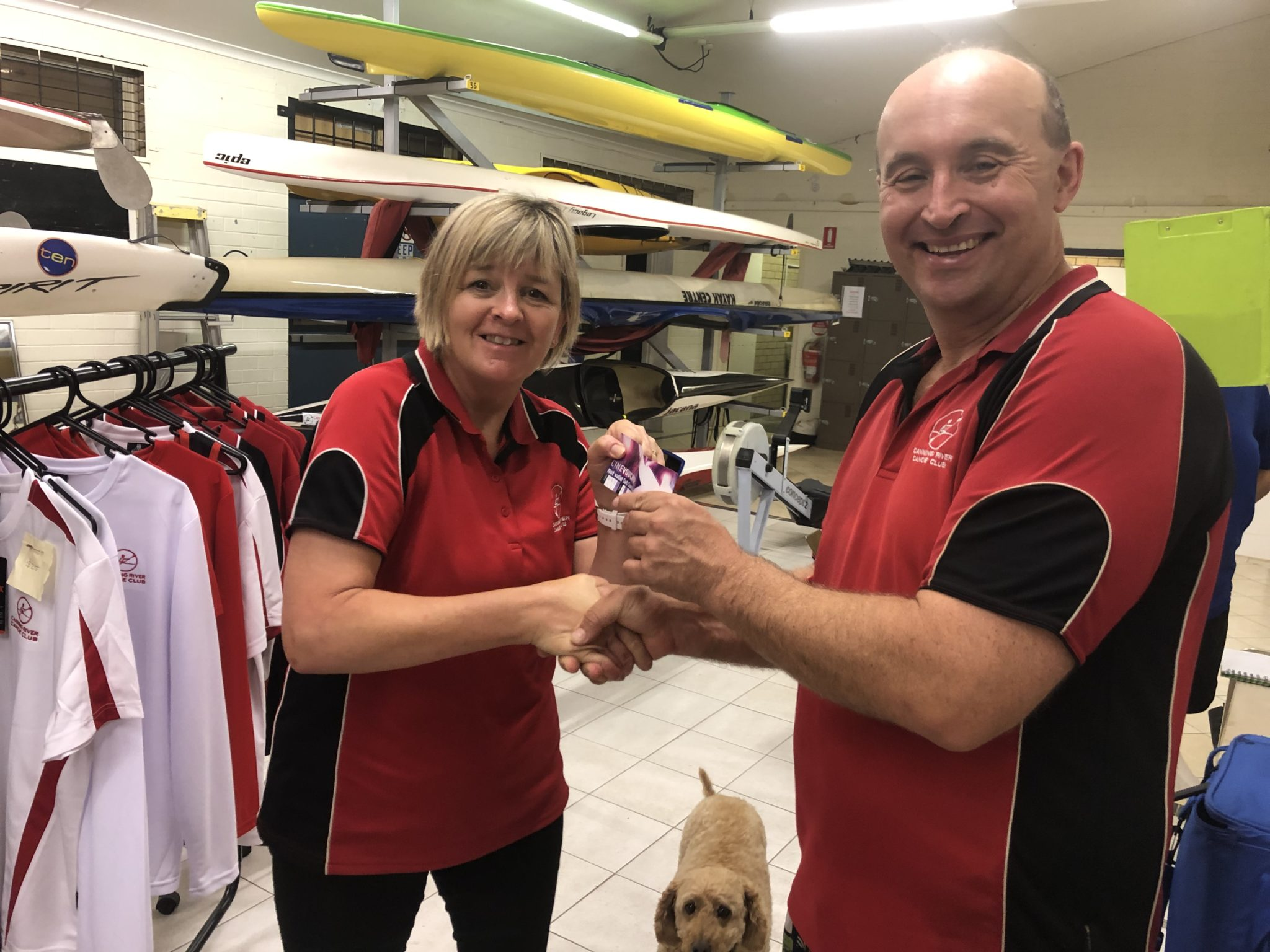 Tuesday 26th February 2019 : Tonight's photo shows club secretary Judith Thompson presenting Mike Galanty with the winners movie voucher.