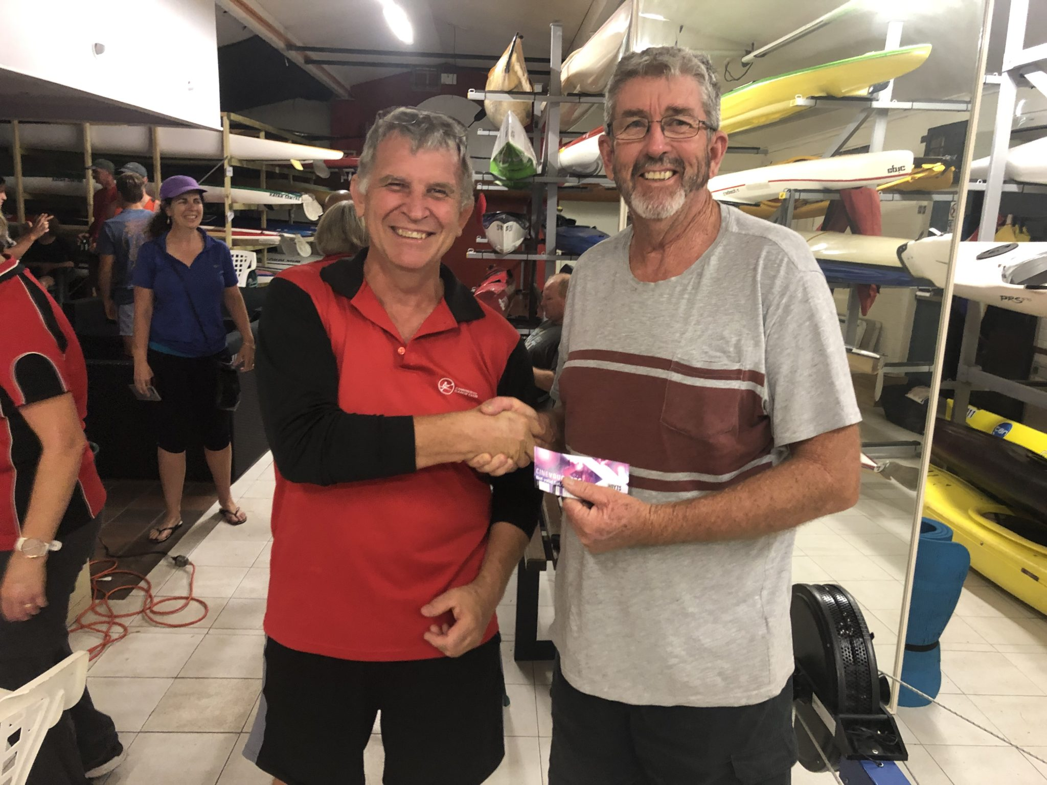Tuesday 26th March 2019 : Tonight's photo shows club member David Brown presenting David Griffiths with the winners movie voucher.