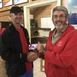 Tuesday 7th May 2019 : Tonight's photo shows club member David Griffiths presenting Dave MacCauley with the winners movie voucher.