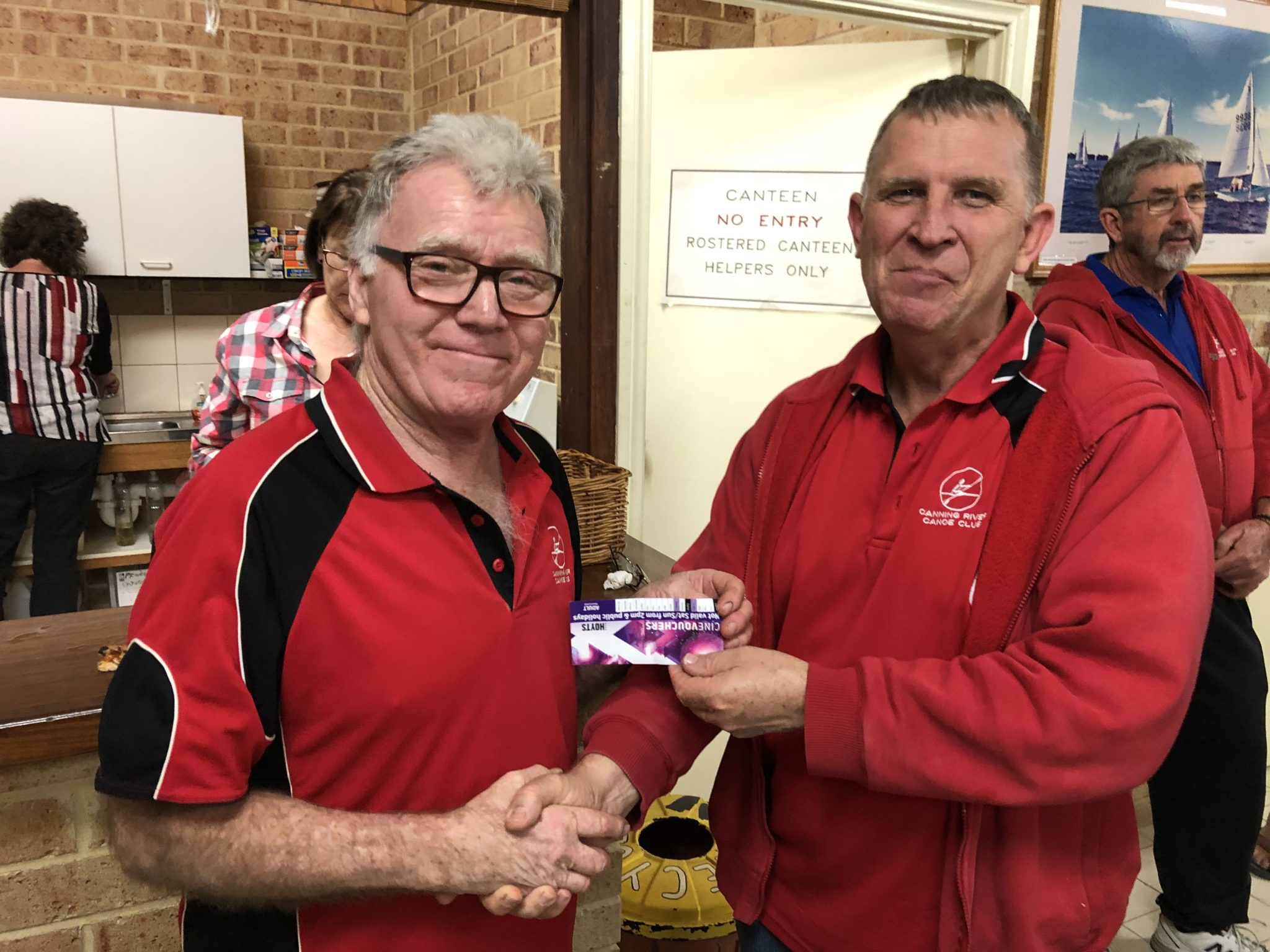 Tuesday 4th June 2018 : Tonight's photo shows club member David Brown presenting David Gardiner with the winners movie voucher.
