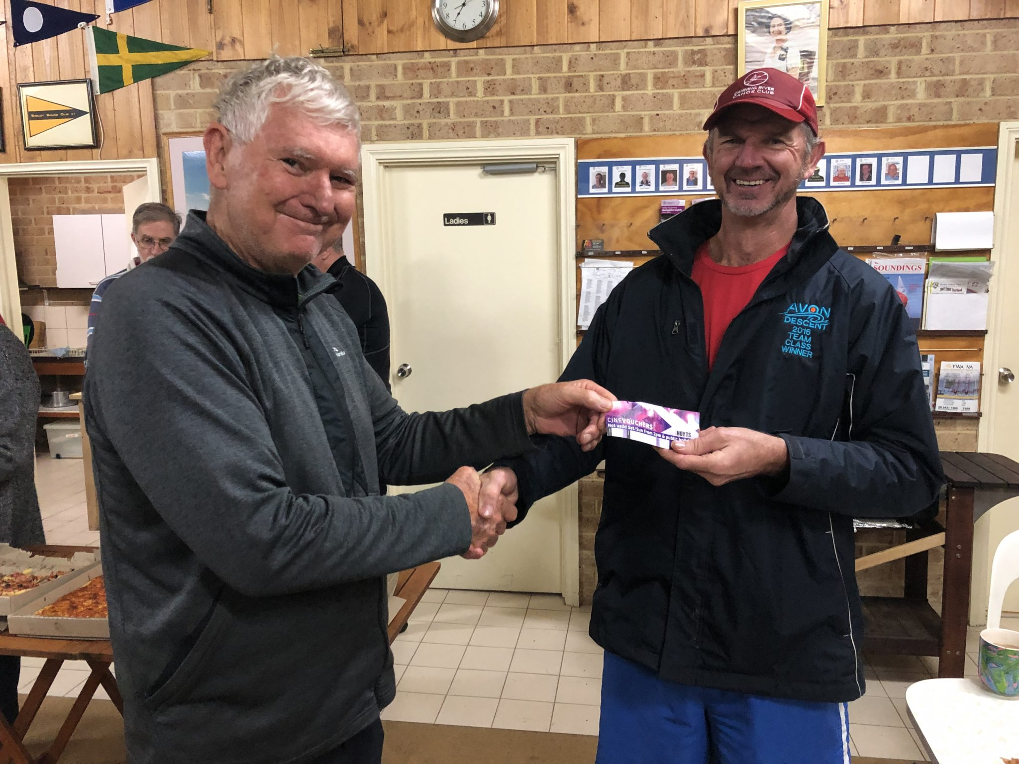 Tuesday 6th August 2019 : Tonight's photo shows club member Jerry Alderson presenting Dave MaCauley with the winners movie voucher.