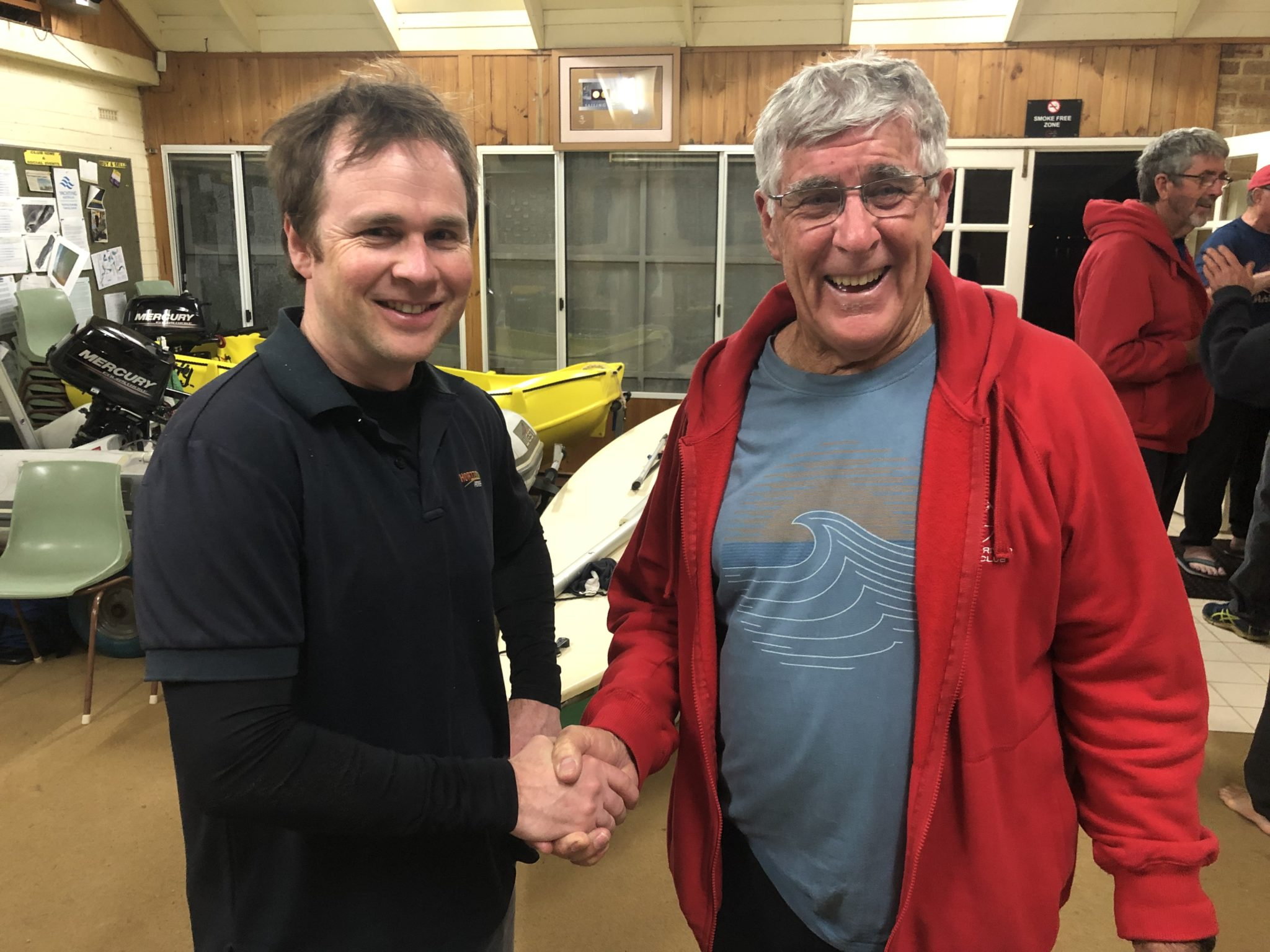 Tuesday 27th August 2019 : Tonight's photo shows club member Dave Stevens presenting Joe Wilson with the winners movie voucher.