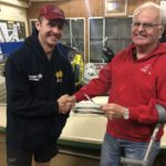 Tuesday 24th September 2019 : Tonight's photo shows club member Les Semen presenting Mike Laloli with the winners movie voucher.