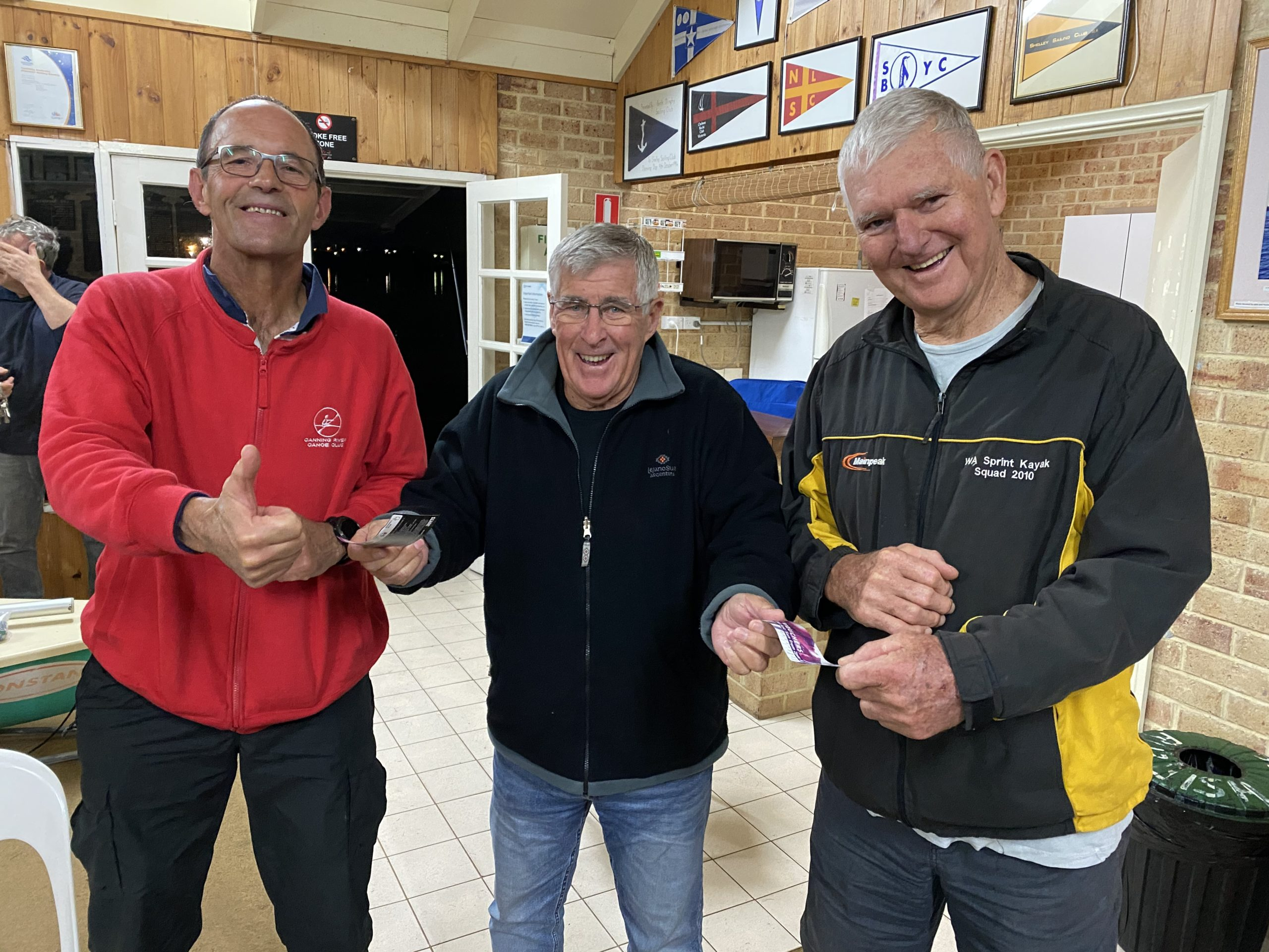Tuesday 26th May 2020 : Tonight's photo shows club member Joe Wilson presenting Doug Hodson and Jerry Alderson with a movie voucher.