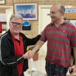 Tuesday 21st July 2020 : Tonight's photos shows club member Mike Galanty presenting David Gardiner with a movie voucher.