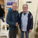 Tuesday 4th August 2020 : Tonight's photos shows club member David Gardiner presenting John Reddell with a number holder as a prize.