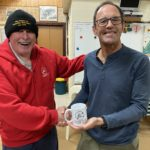 Tuesday 22nd September 2020 : Tonight's photo shows club member Louis Botes presenting tonight's winner Doug Hodson with a Club Mug.