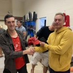 Tuesday 3rd November 2020 : Tonight's photos shows club member Luc Jacob presenting Matt Jacob with a Club Cap as a prize.