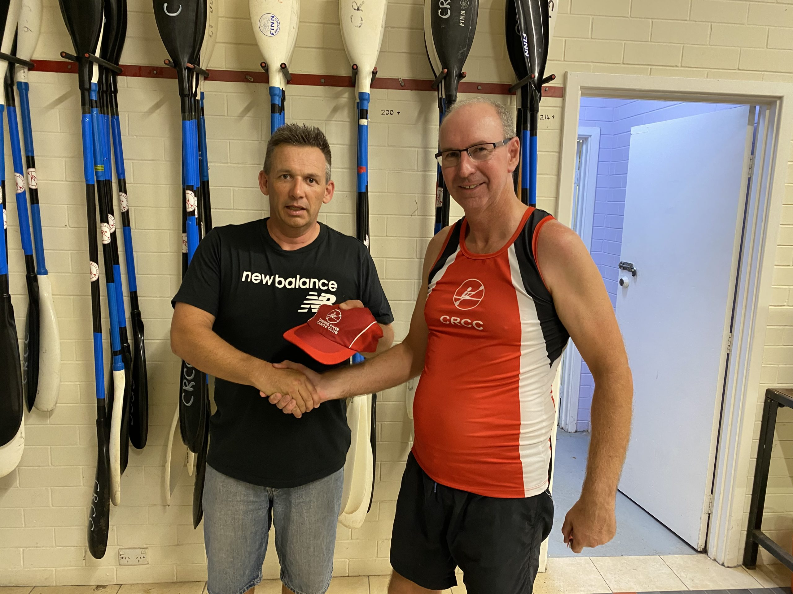 Tuesday 23rd February 2021 : Tonight's photos shows Club Treasurer David Urquhart presenting David Boldy with a club cap as prize.