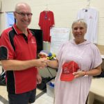 Tuesday 16th March 2021 : Tonight's photo shows club treasurer David Urquhart presenting tonight's winner Eve McNicoll with a club cap.